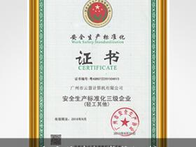朗歌斯安全生产标准化证书